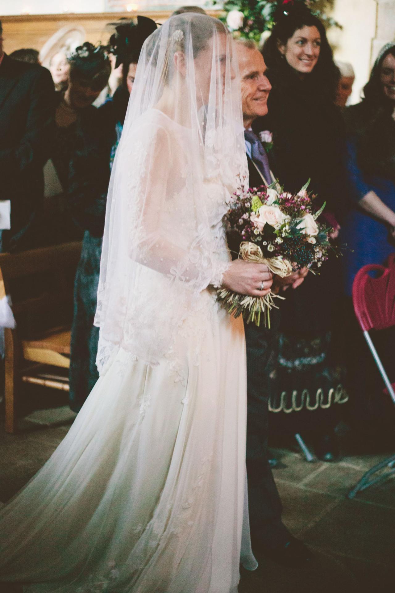 vintage bride lace and chiffon wedding dress