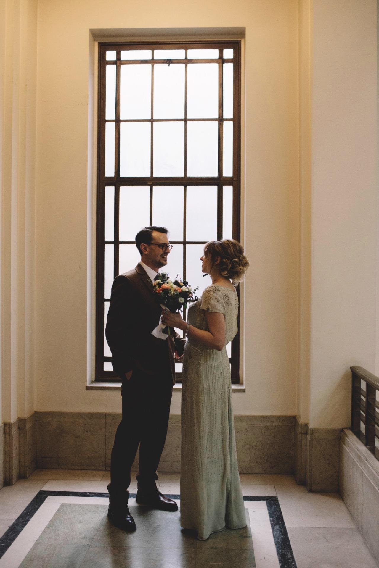 Green 1930s wedding dress