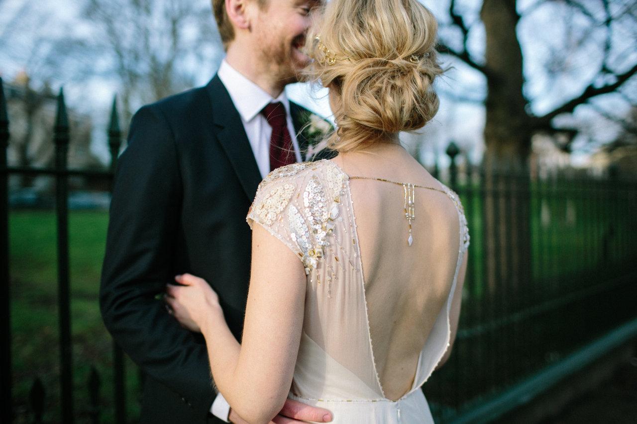 backless vintage wedding dress