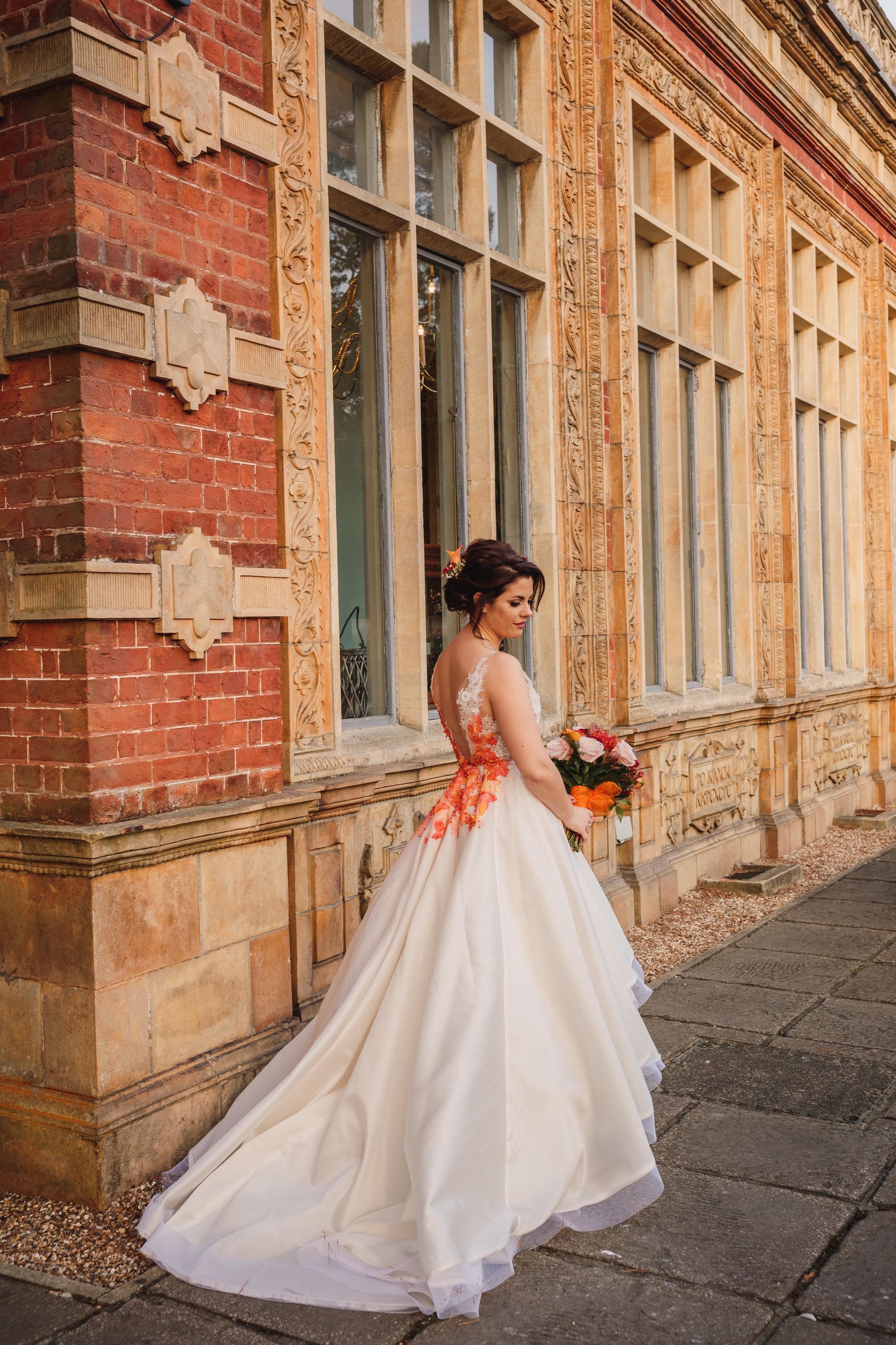 wedding dress low back details