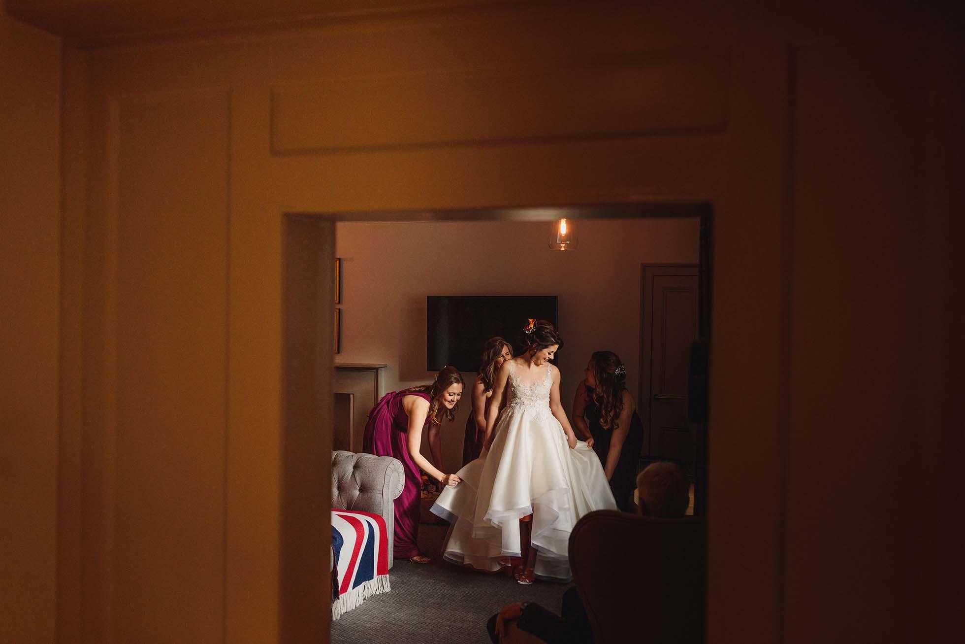 getting ready wedding dress