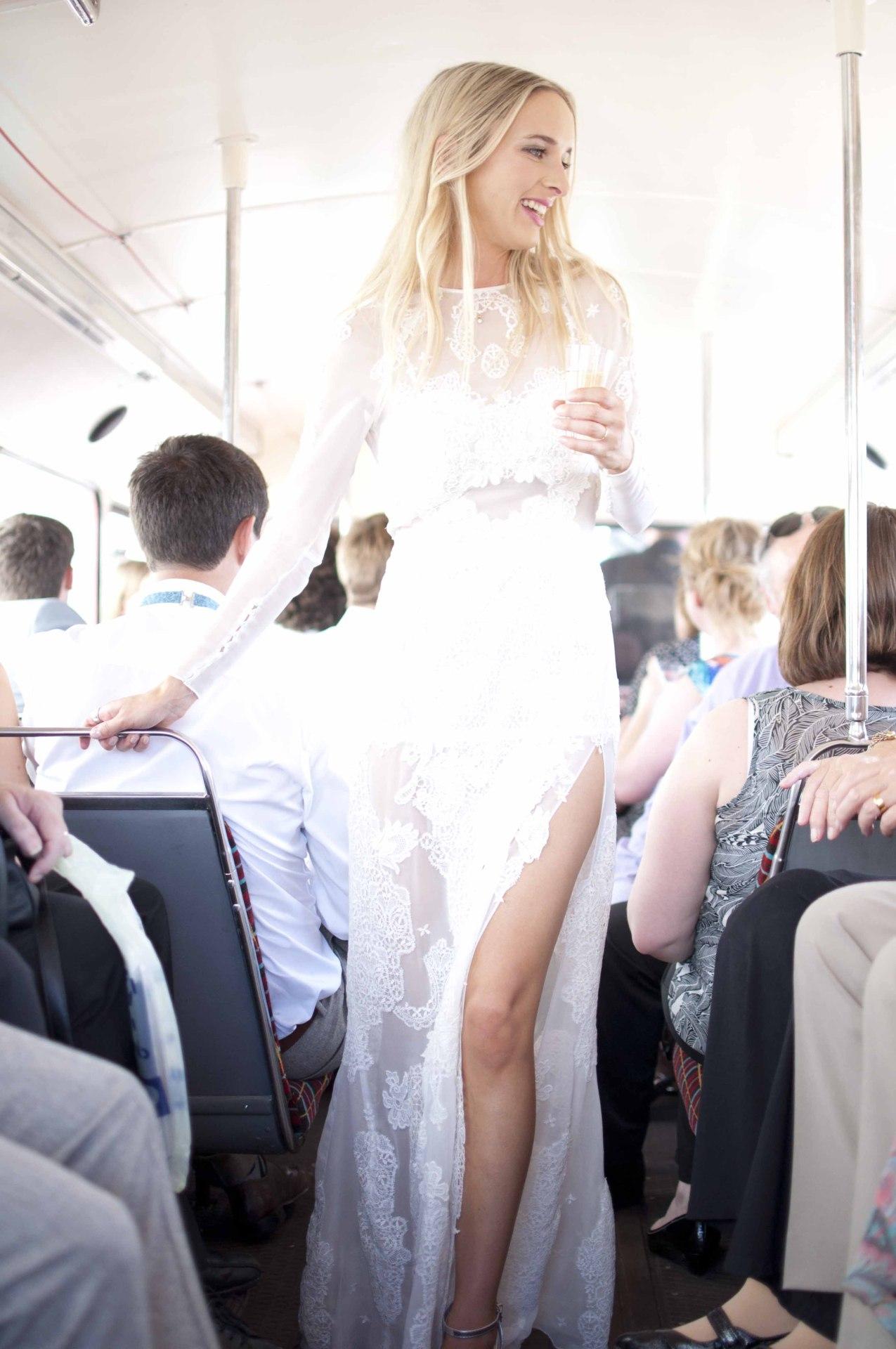 sheer geometric lace wedding dress thigh split