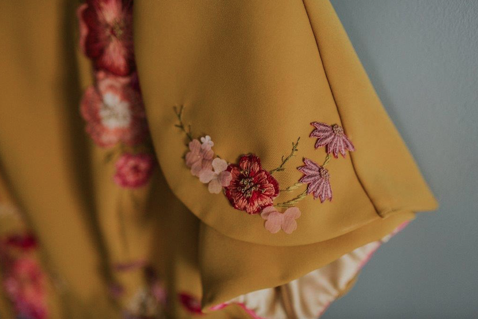 Yellow indian wedding dress pink floral