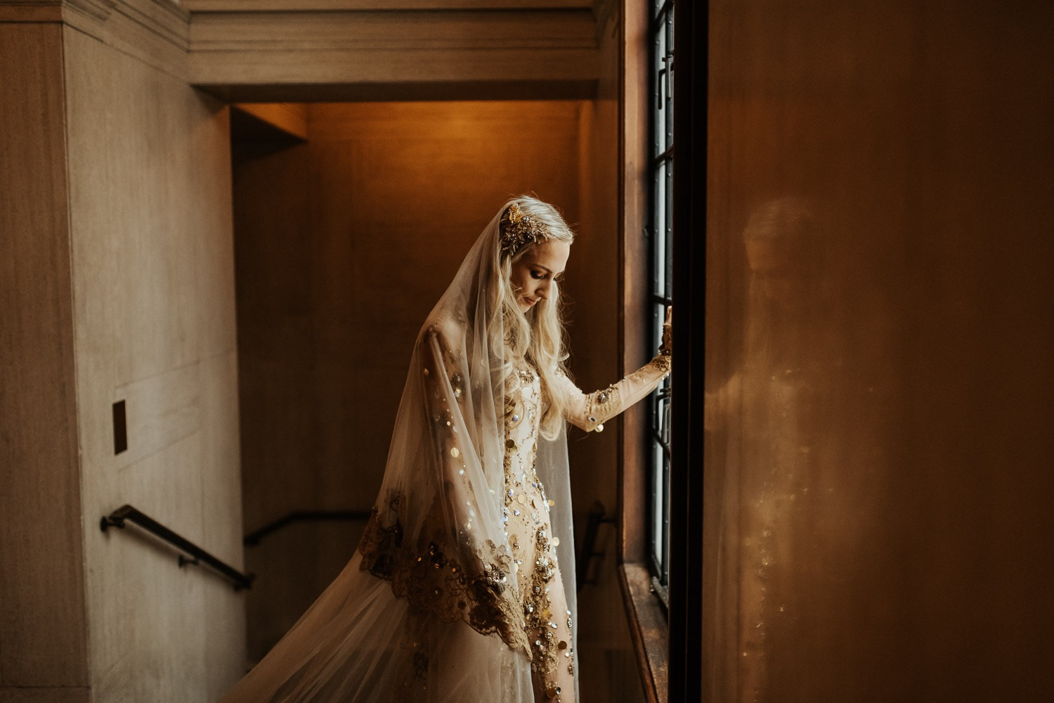 sheer gold lace wedding dress