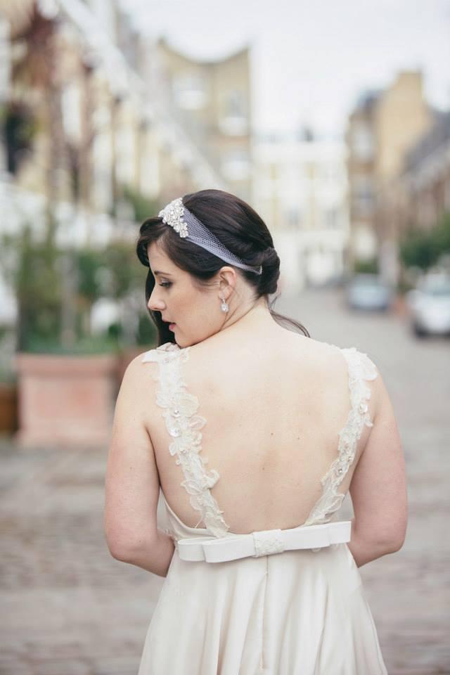 backless Blush wedding dress