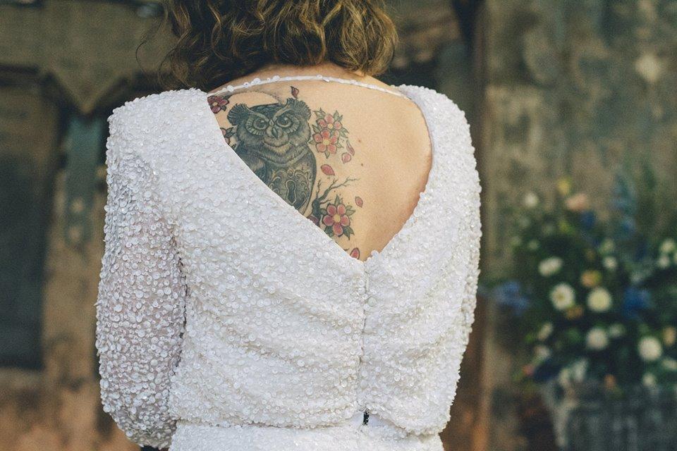 low back sequin wedding dress