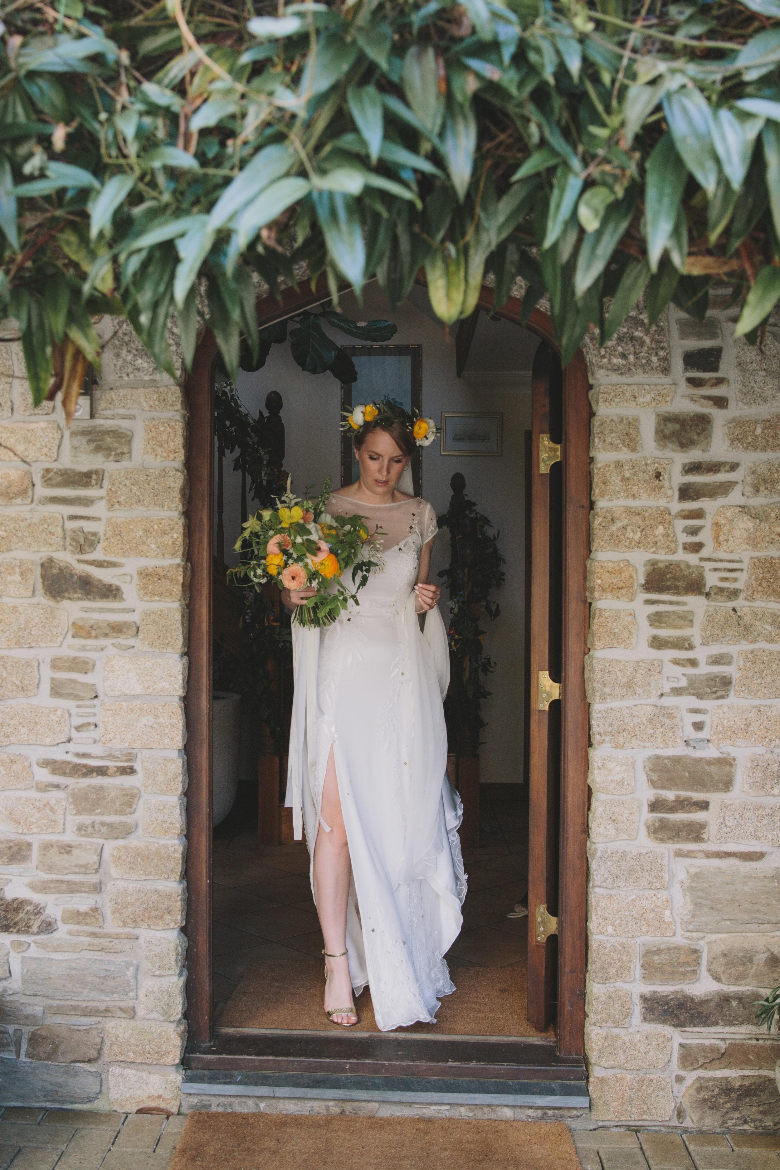 chiffon wedding dress thigh split