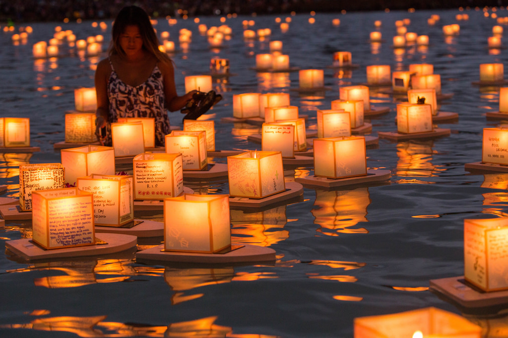 Floating lanterns at an Obon ceremony in Hawaii.
