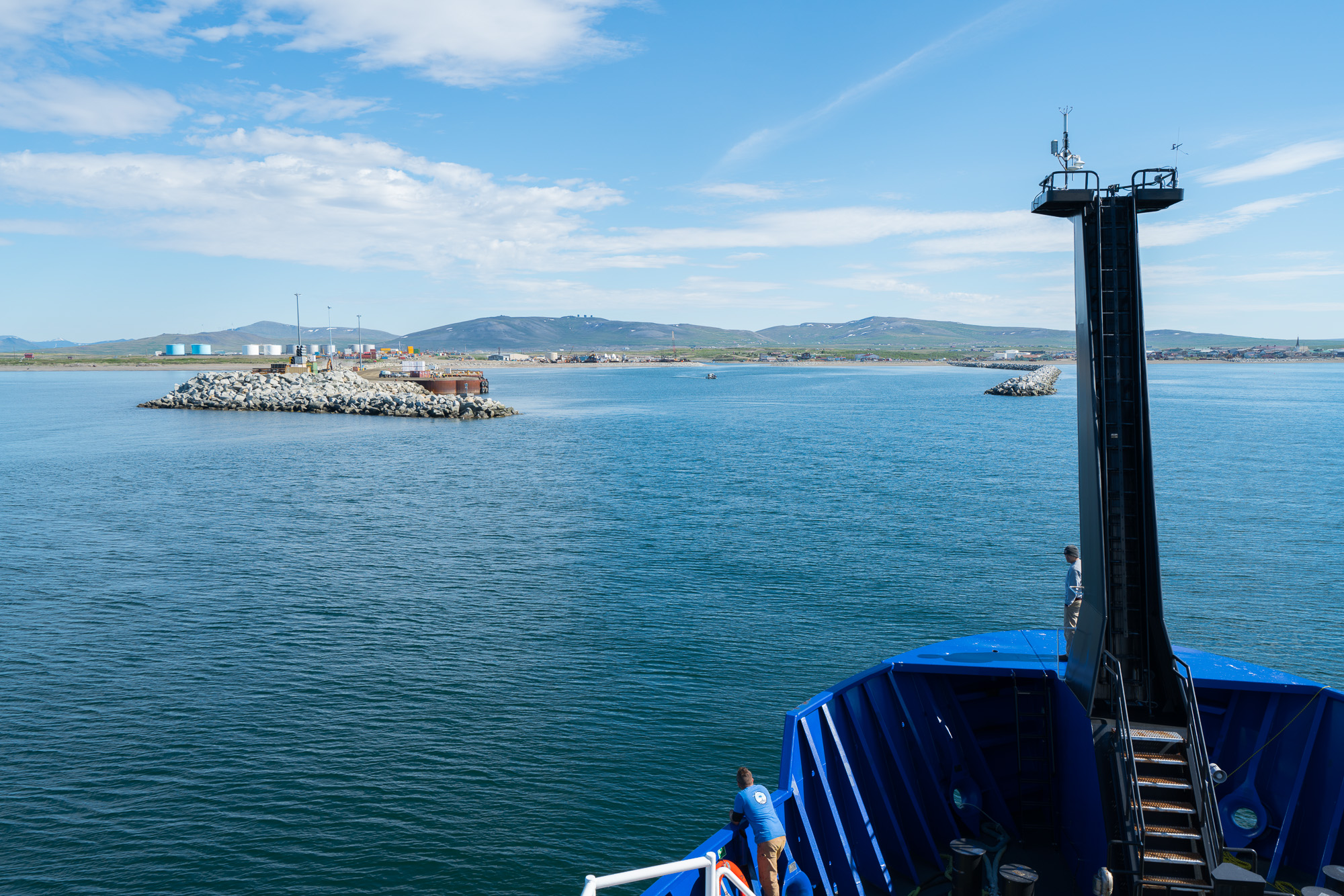 Photo by Andrew McDonnell. R/V  Sikuliaq approaching Nome Harbor.