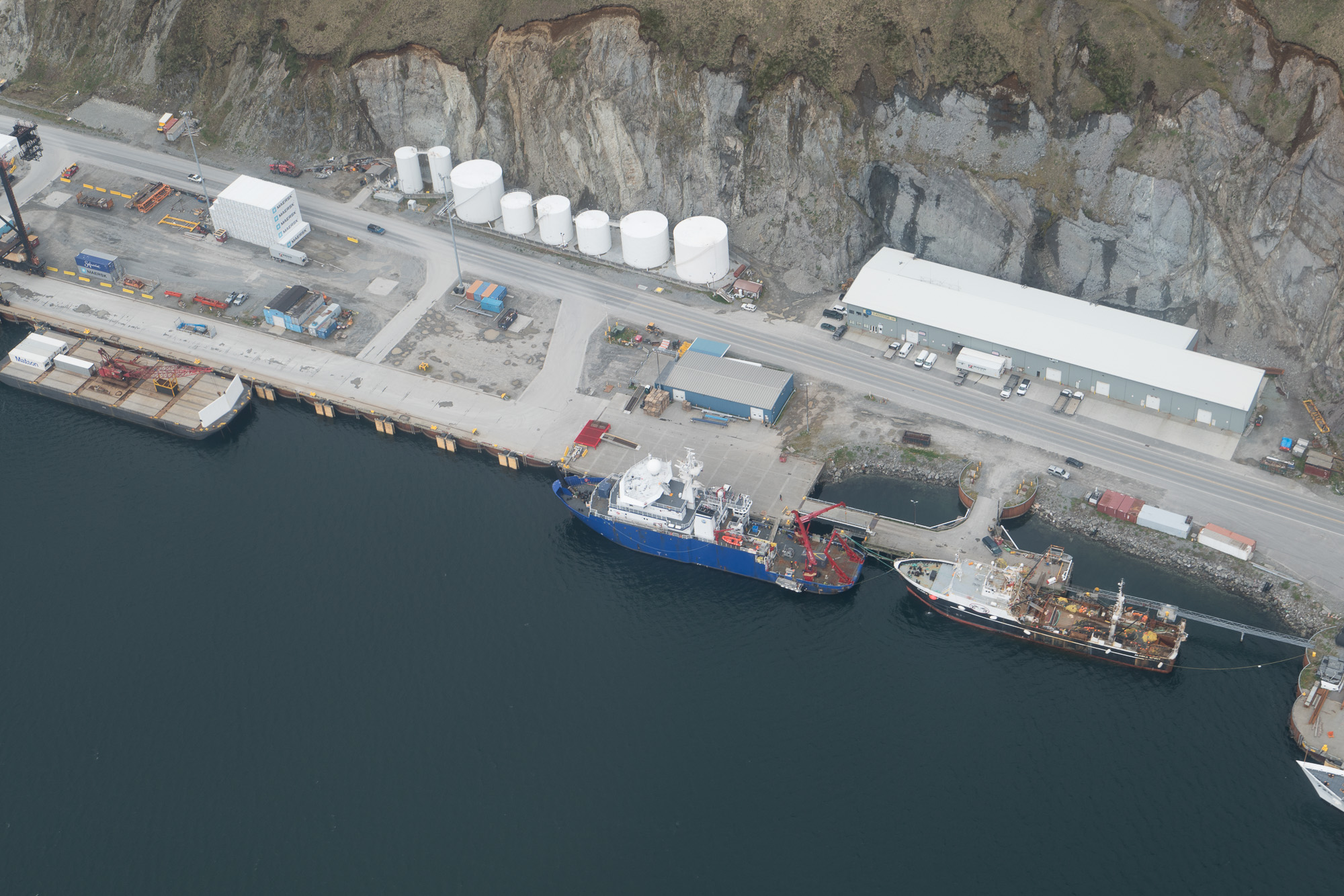Aerial view of Sikuliaq at the Dutch Harbor docks prior to the 2017 ASGARD cruise.