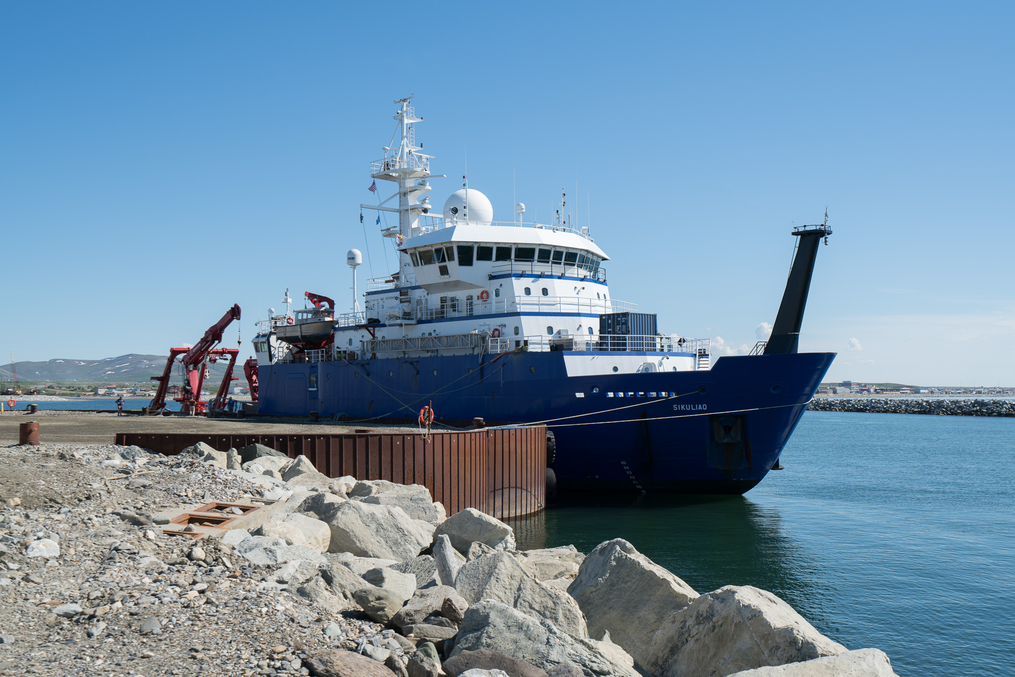 The R/V  Sikuliaq  is dockside in Nome. Photo credit: Andrew McDonnell