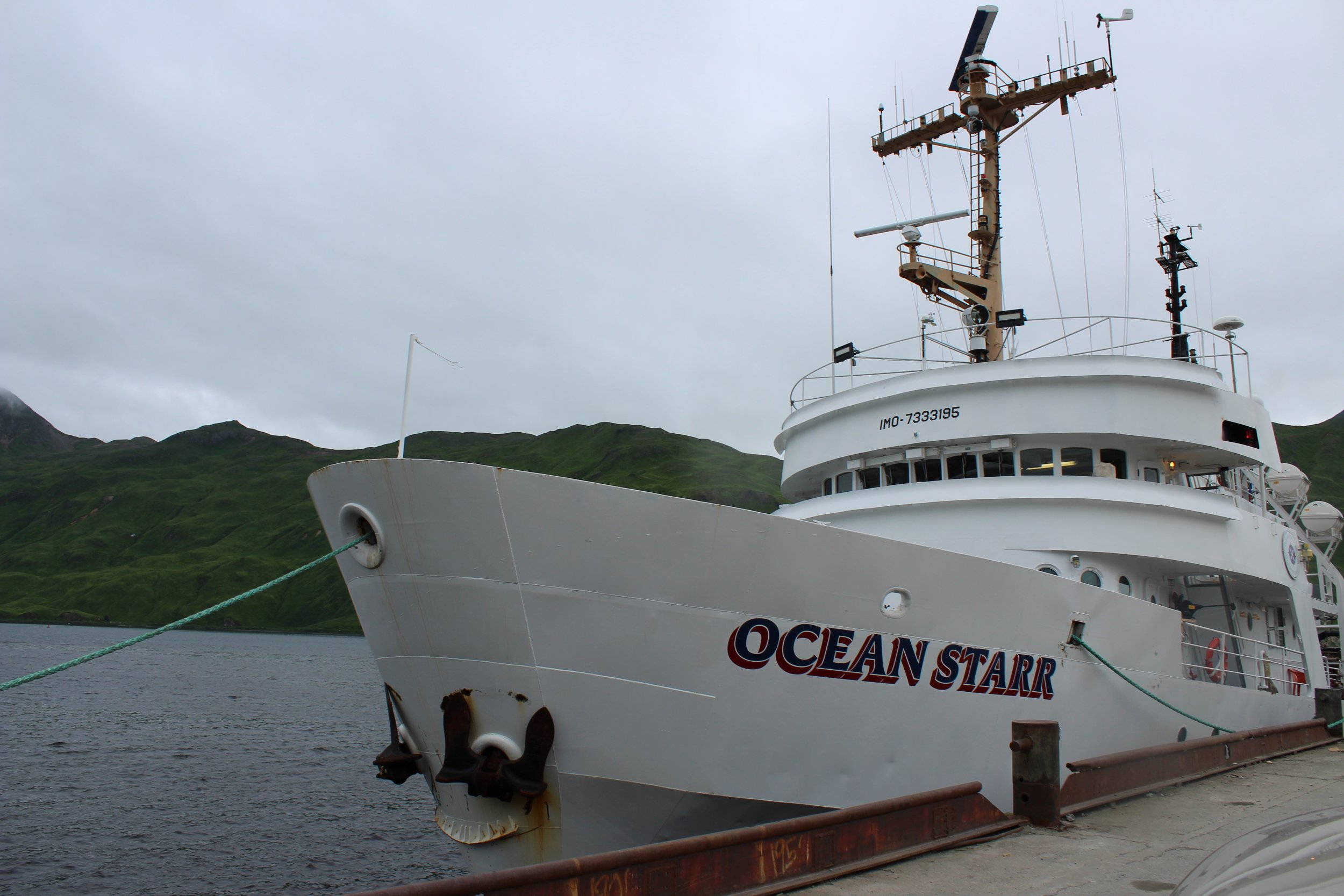 The R/V  Ocean Starr  prepares to depart for the summer survey of the Arctic Integrated Ecosystem Research Program. Photo credit: Harmony Wayner