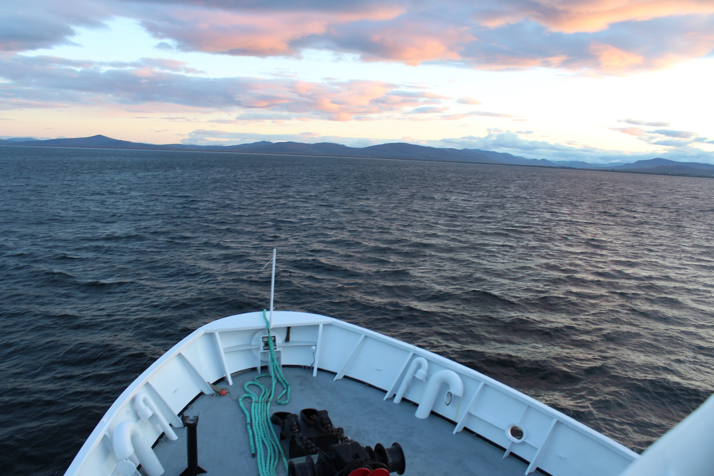 The sunrise as the R/V  Ocean Starr  approaches Nome where most scientists will disembark and a new crew will board for to Leg 2 in the Chukchi Sea.Photo credit: Harmony Wayner