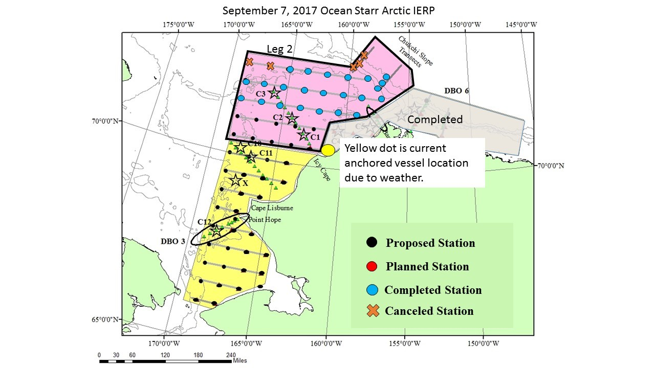 Map of sampling stations for the Arctic Integrated Ecosystem Survey that is sampling in summer/fall. Leg 2 of the survey will sample the area shaded pink; leg 3 will sample the area shaded yellow.