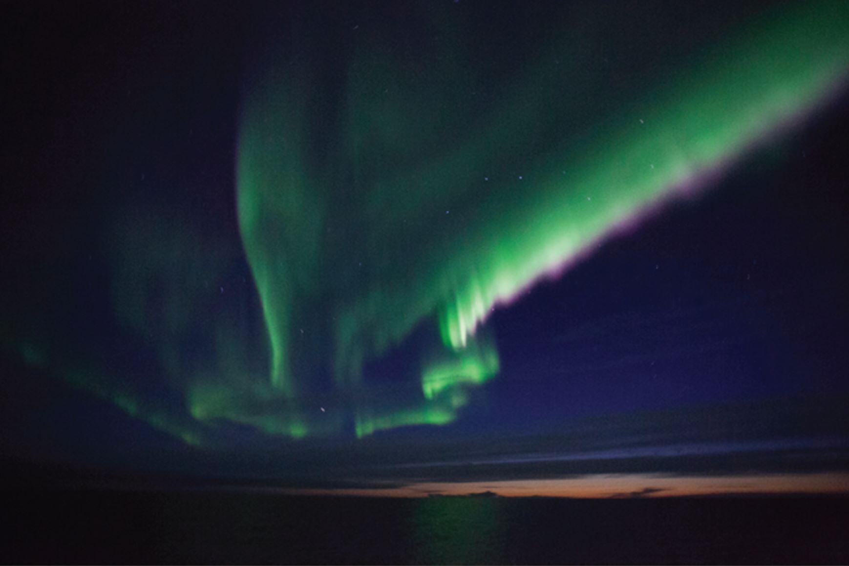 Northern lights above R/V  Ocean Star r night of September 11th.Photo credit: Ryan McCabe