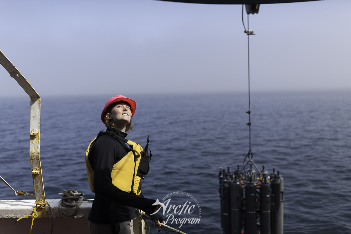 Sara Donahue giving winch commands to bring up the CTD during the testing trials. Photo credit: Brendan Smith/NPRB