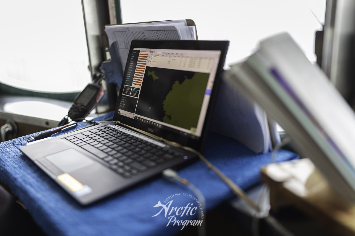 Laptop display of bird sampling south of Norton Sound. Photo credit: Brendan Smith/NPRB
