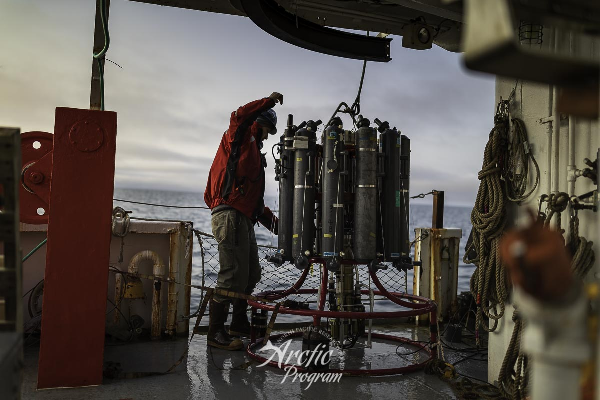 The CTD instrument used to collect water samples aboard the R/V  Ocean Starr . Photo credit: Brendan Smith/NPRB
