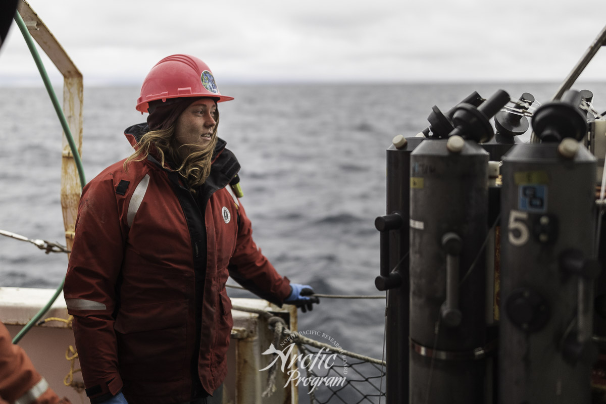 Sarah Donohoe looks off to the horizon before the CTD rosette is deployed. Photo credit: Brendan Smith/NPRB