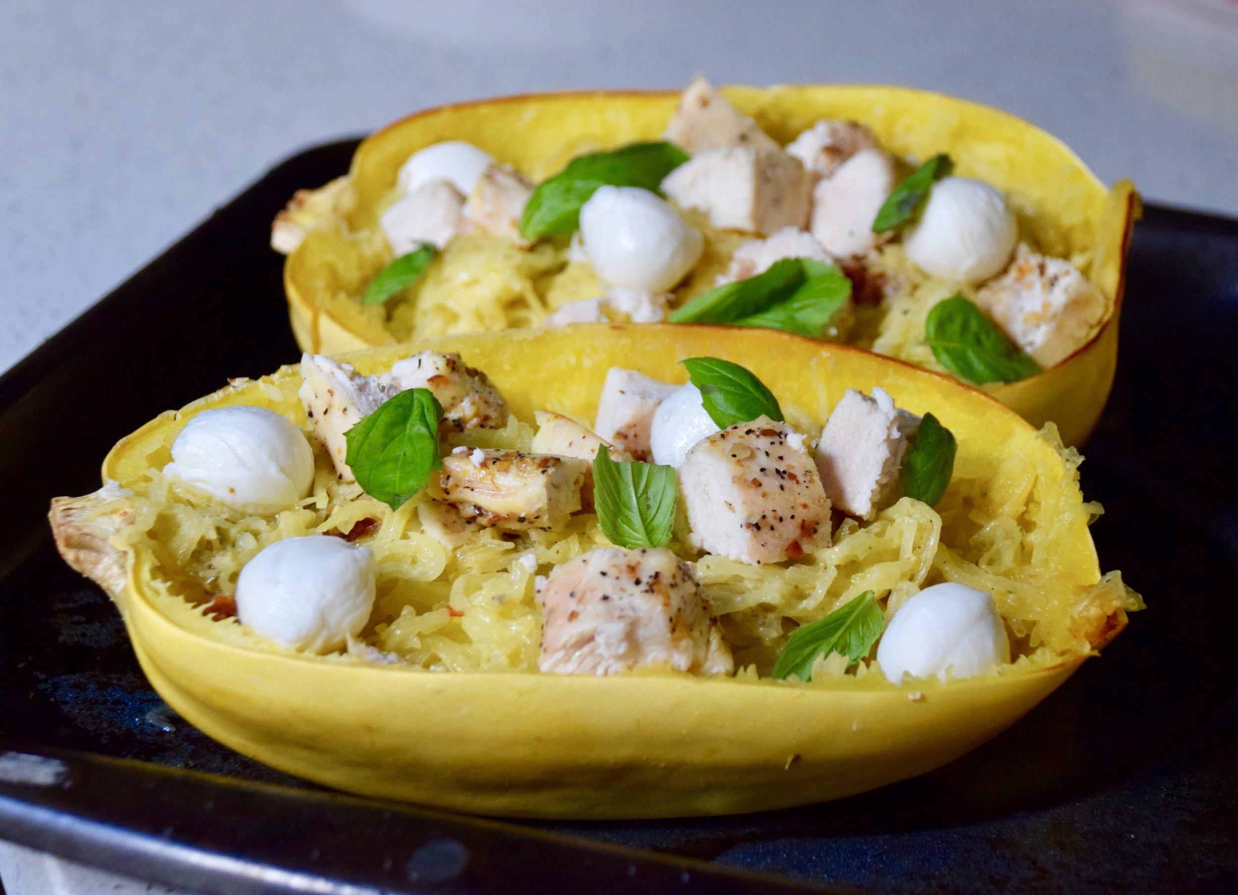 Pesto Chicken Spaghetti Squash