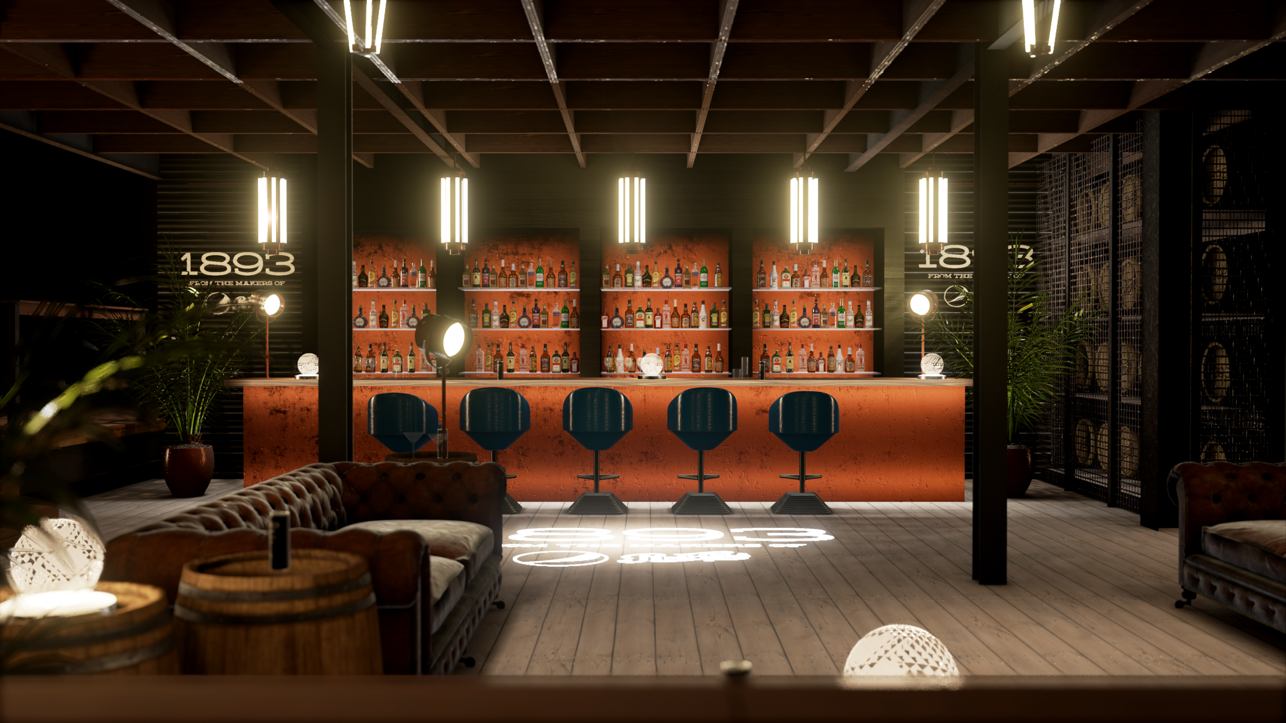 1893 WHISKEY BAR   VR for a Super Bowl pre-game venue in Houston