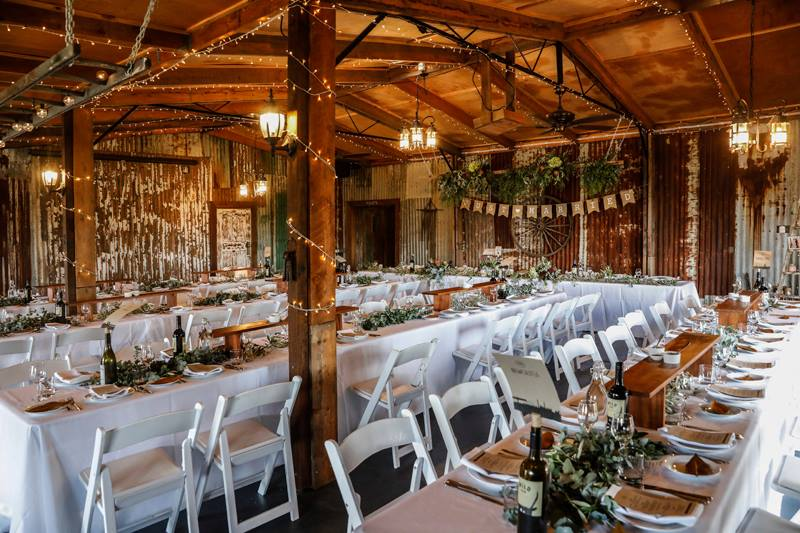 Wedding Reception set up with flowers and wedding decorations