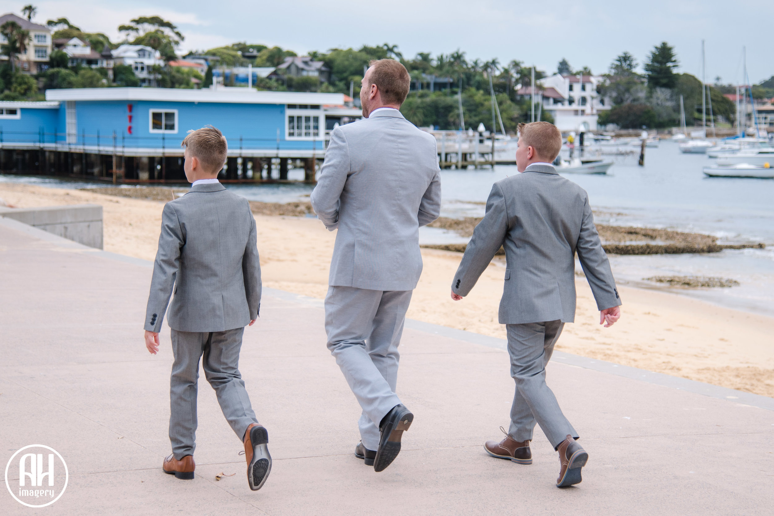 Groom walking to his wedding at Watsons Bay