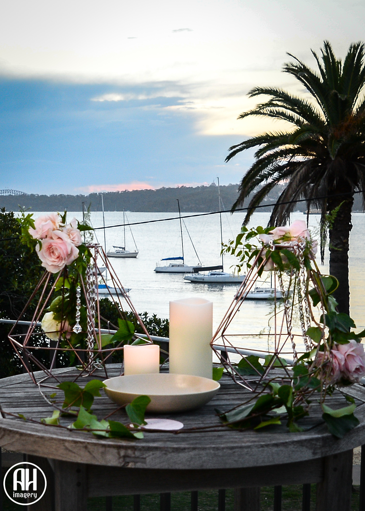 Lanterns overlooking Watsons Bay at Dunbar House Wedding