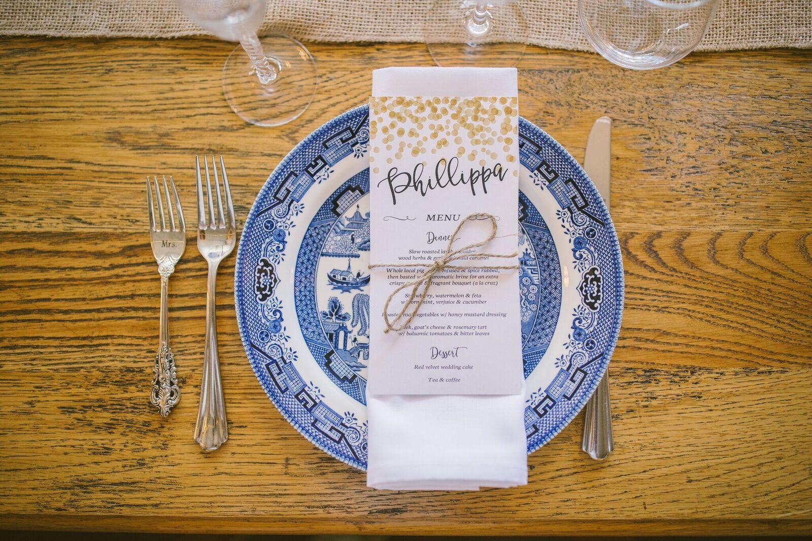 Wedding menu on a blue plate