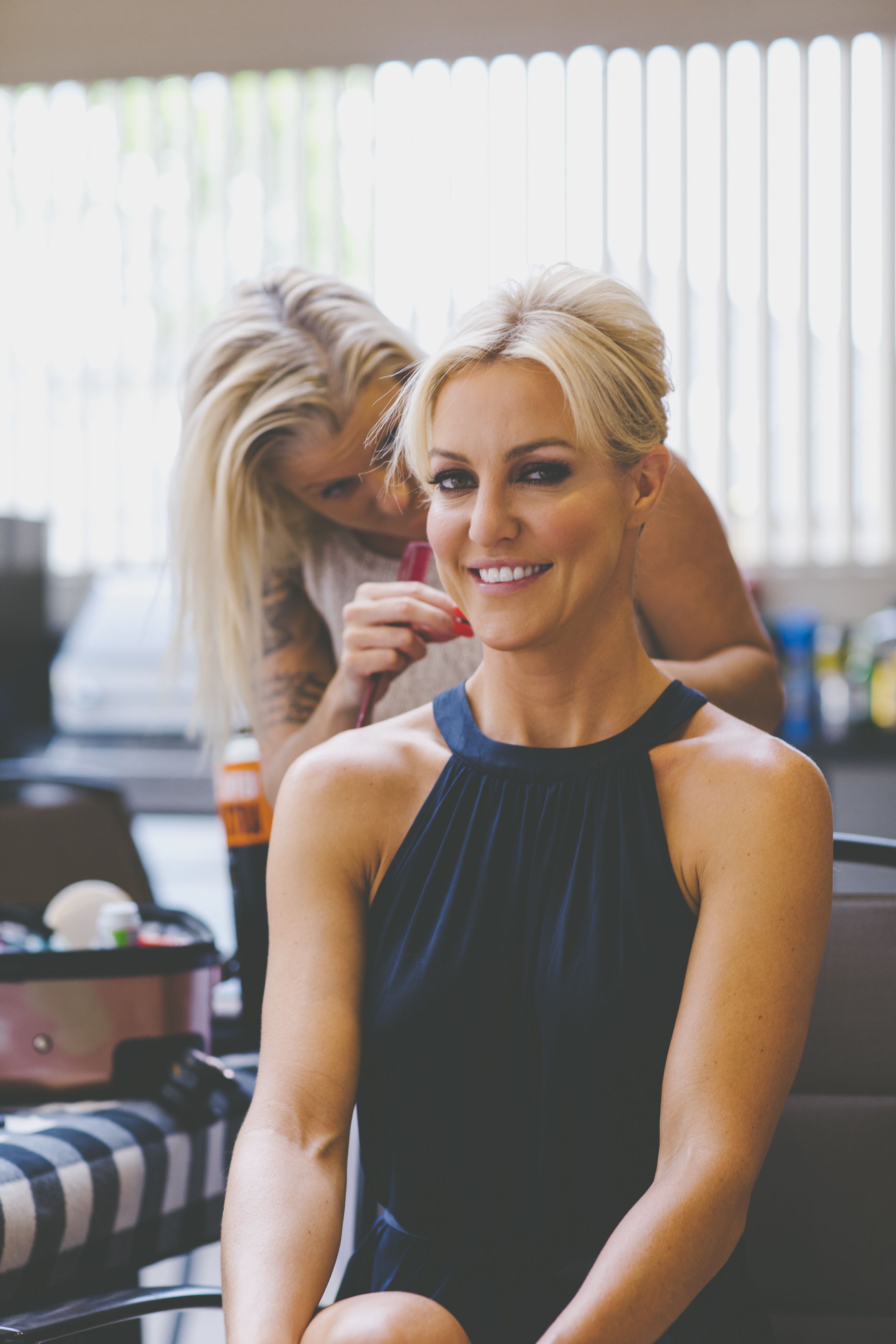 Bride Natalie Lowe getting ready for her wedding
