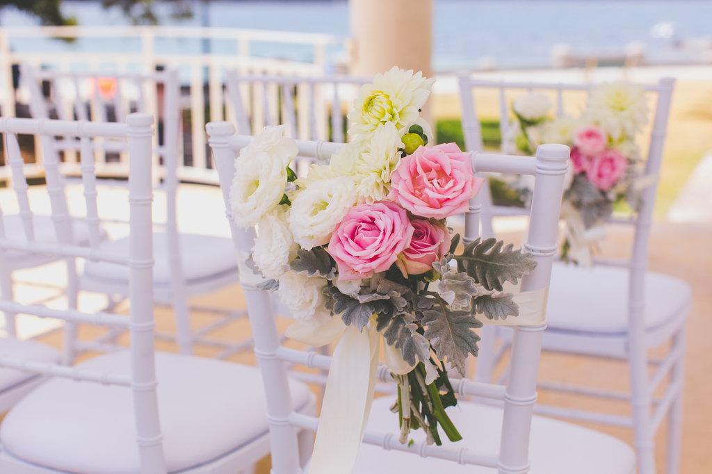 Chair flowers Balmoral Rotunda Wedding Ceremony