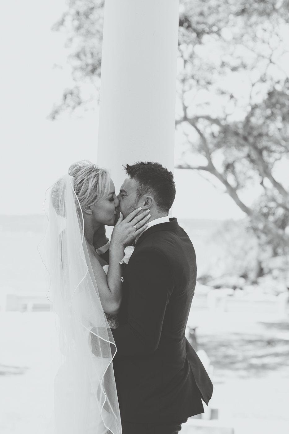 Natalie Lowe and James Knibbs First Kiss at Balmoral Rotunda Wedding