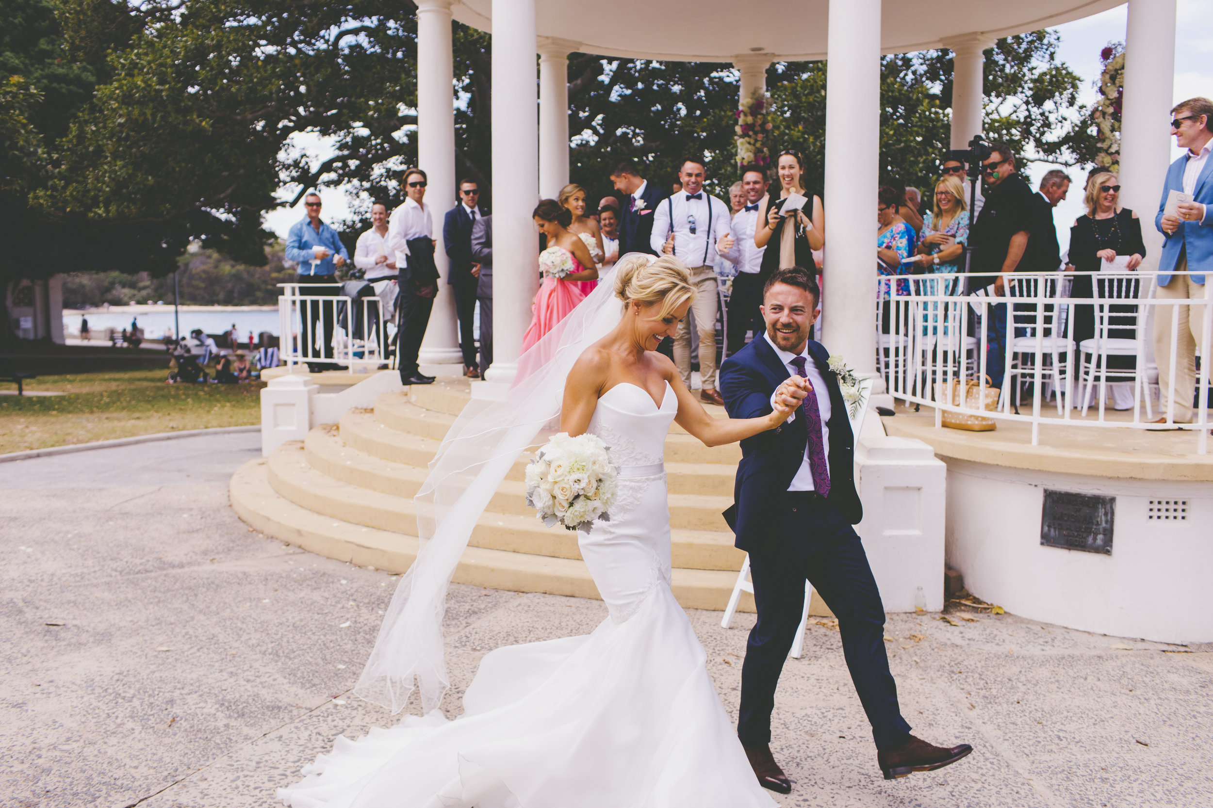 Bride and Groom at Balmoral Beach Wedding Ceremony after just getting married