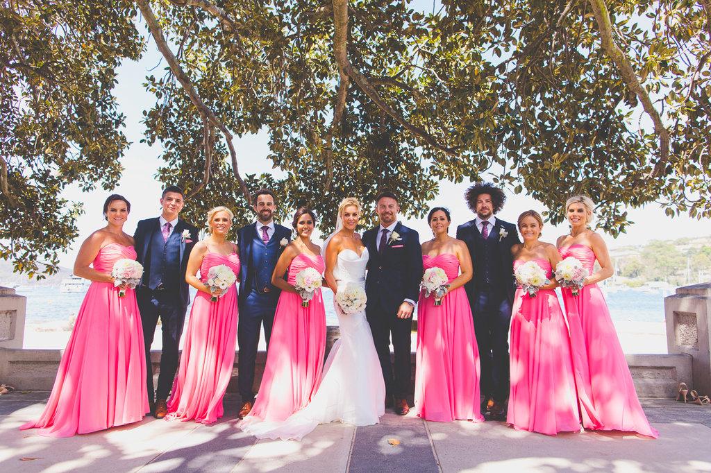 Full Bridal Party having Wedding photos at Balmoral Beach