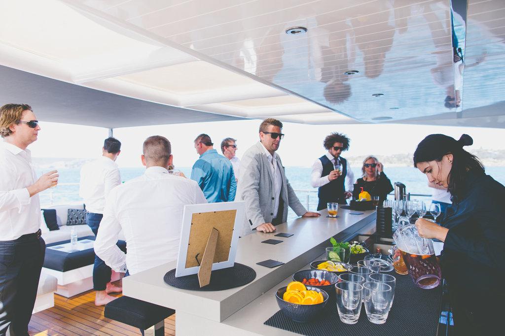 Guests at the bar at Wedding Reception on Sahana Boat