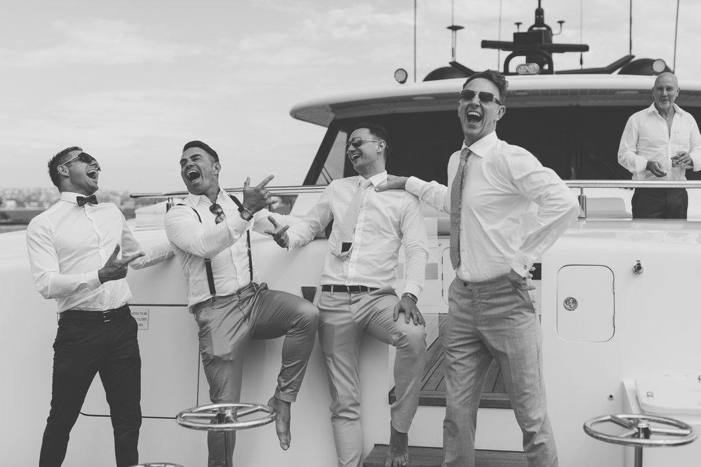 Guests having fun on Natalie Lowe and James Knibbs Wedding Sahana Yacht
