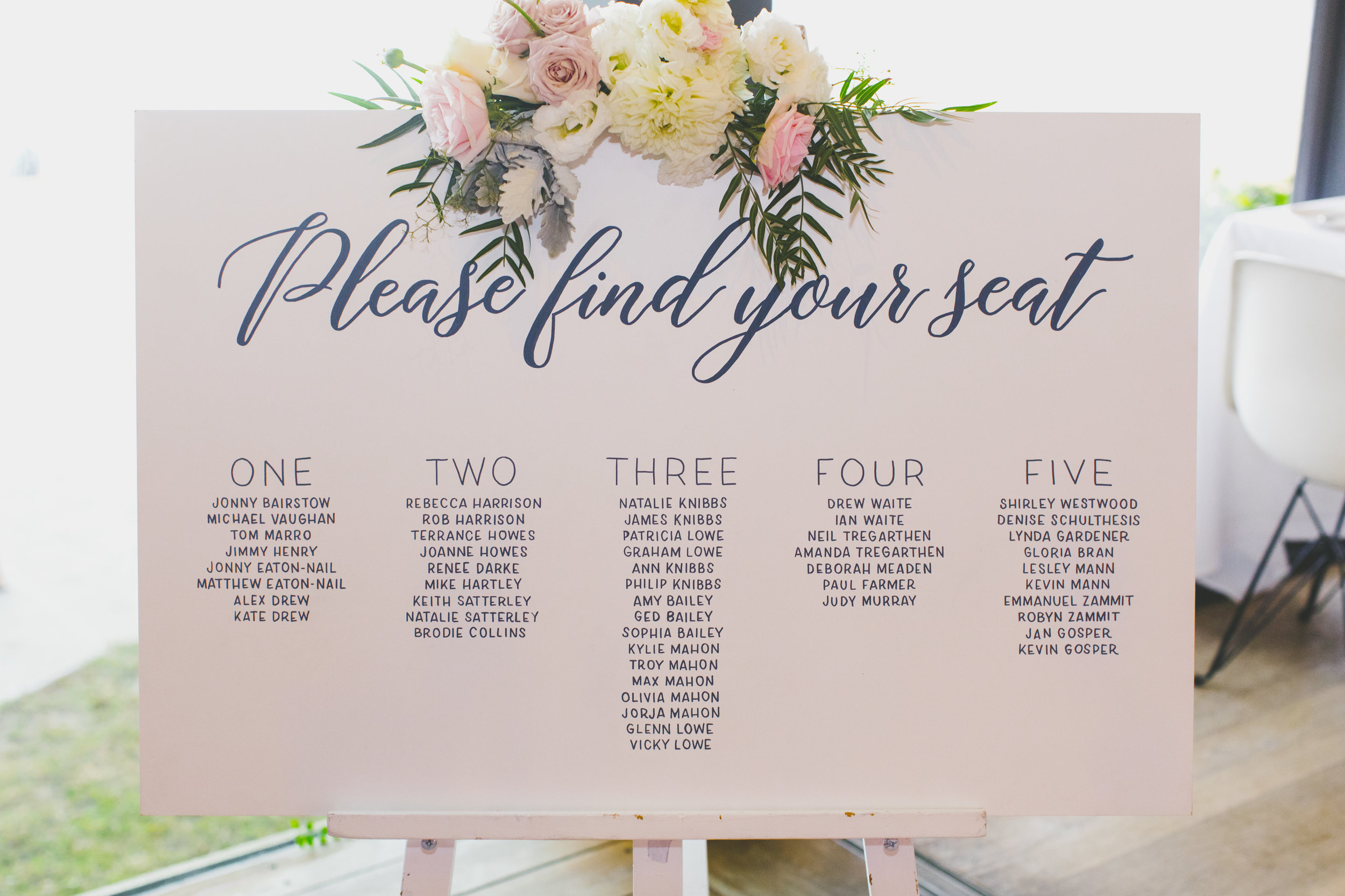 Seating Chart at The Public Dining Room Balmoral Wedding