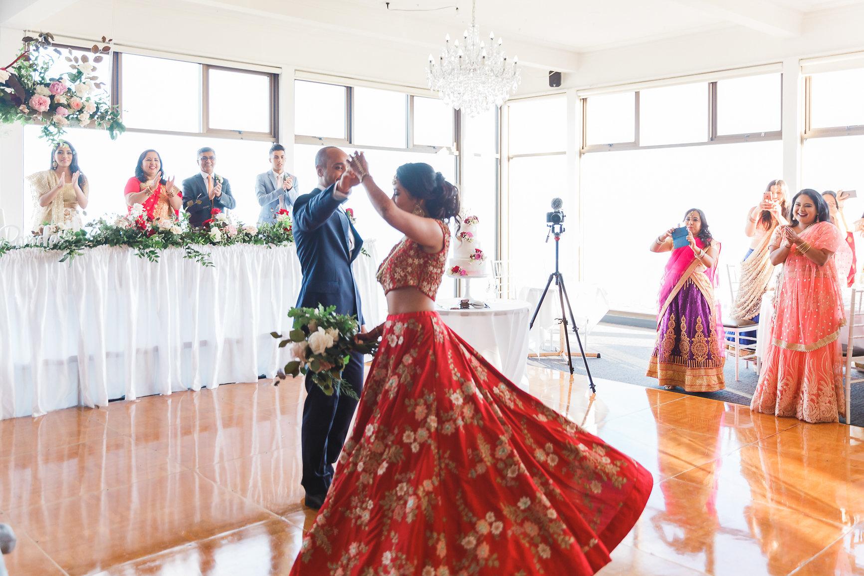 Bride and Groom Dancing at Nepalese Wedding Panorama House Bulli