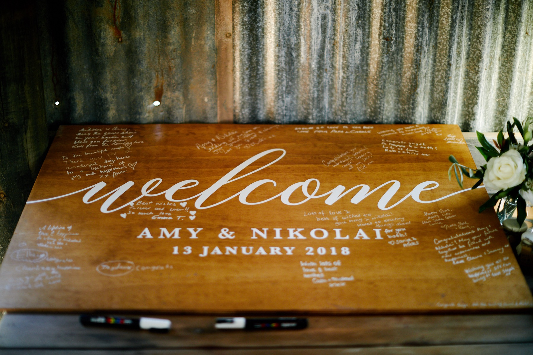 Wedding welcome sign at Central Coast wedding.