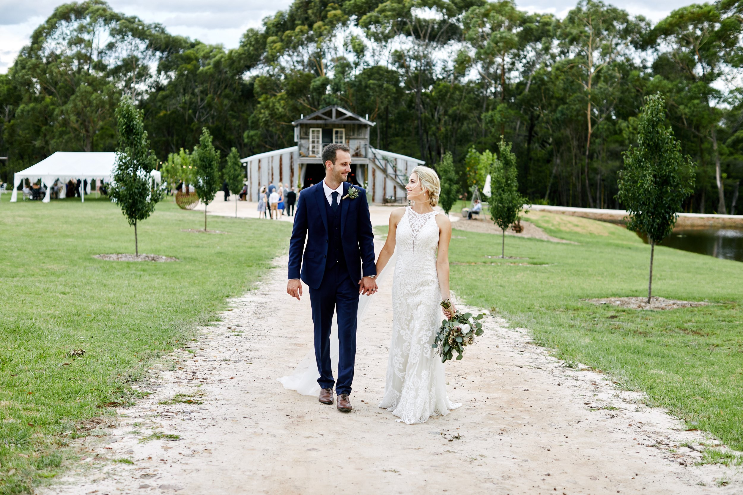 Bride and Groom at The Stables of Somersby.
