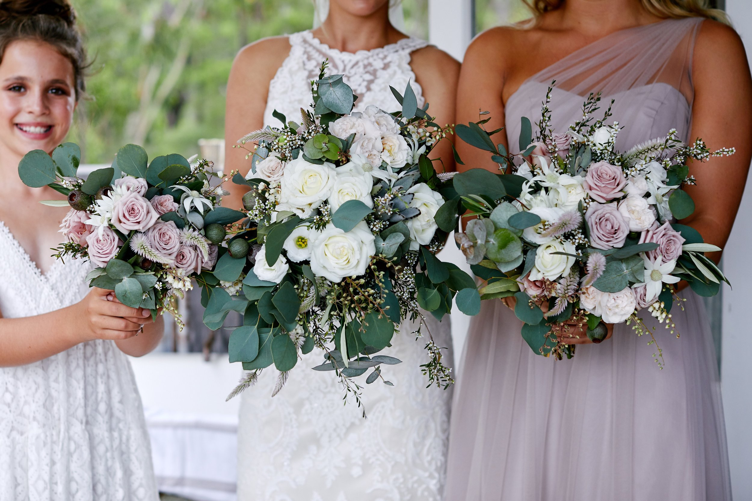 Wedding Flowers with Bride and Bridesmaids getting ready for wedding at The Stables of Somersby Central Coast wedding venue