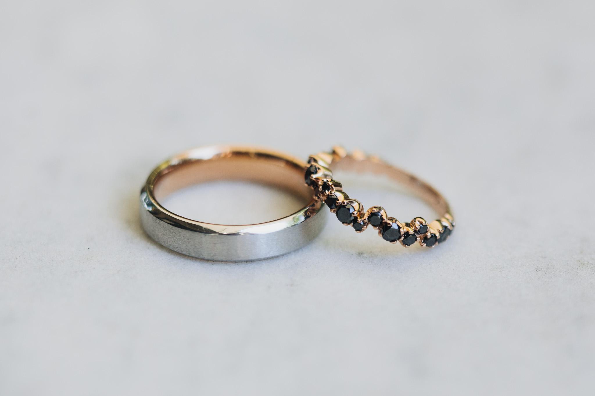 Unique black diamond wedding rings