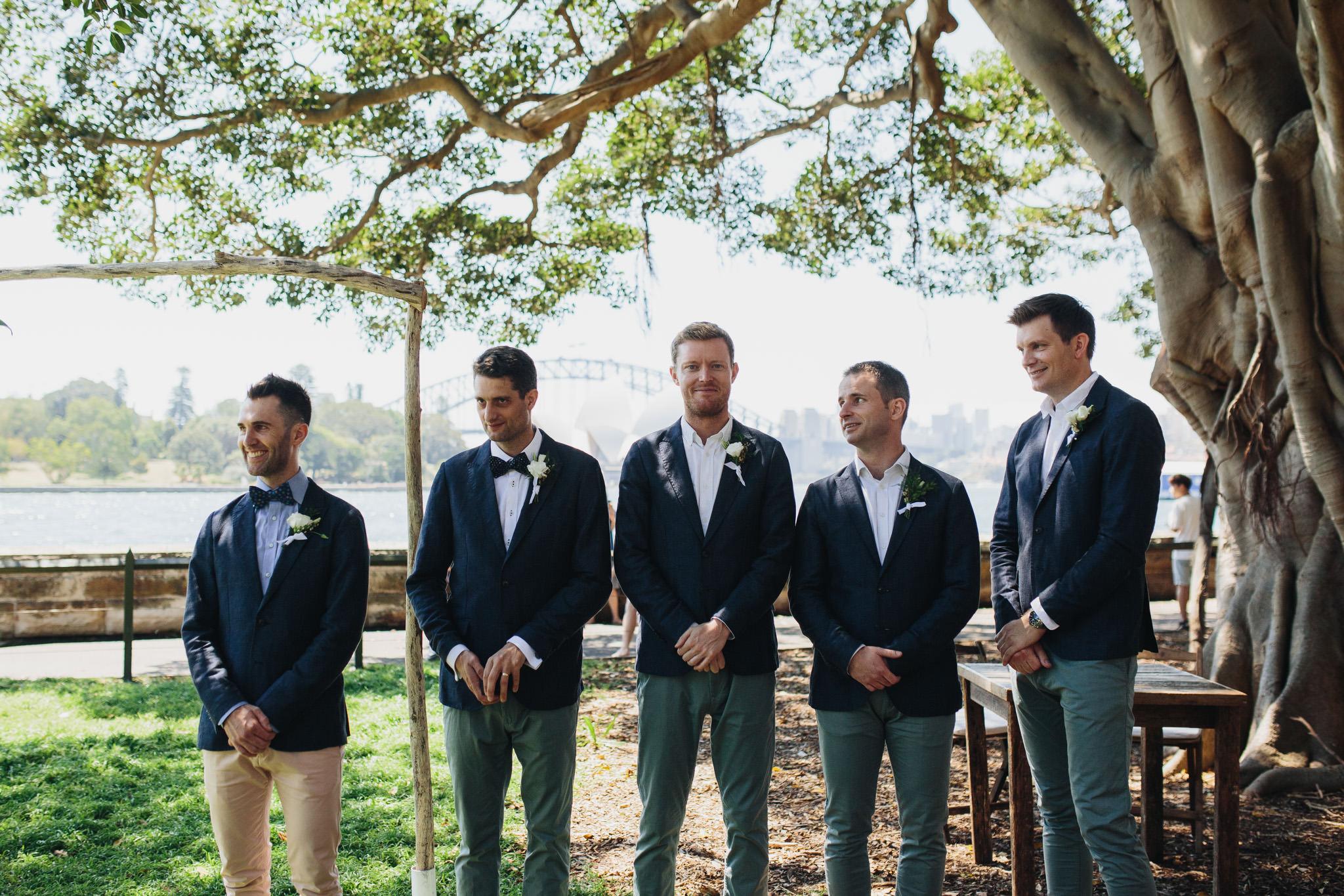 Groom and groomsmen waiting at Sydney Botanical Gardens wedding