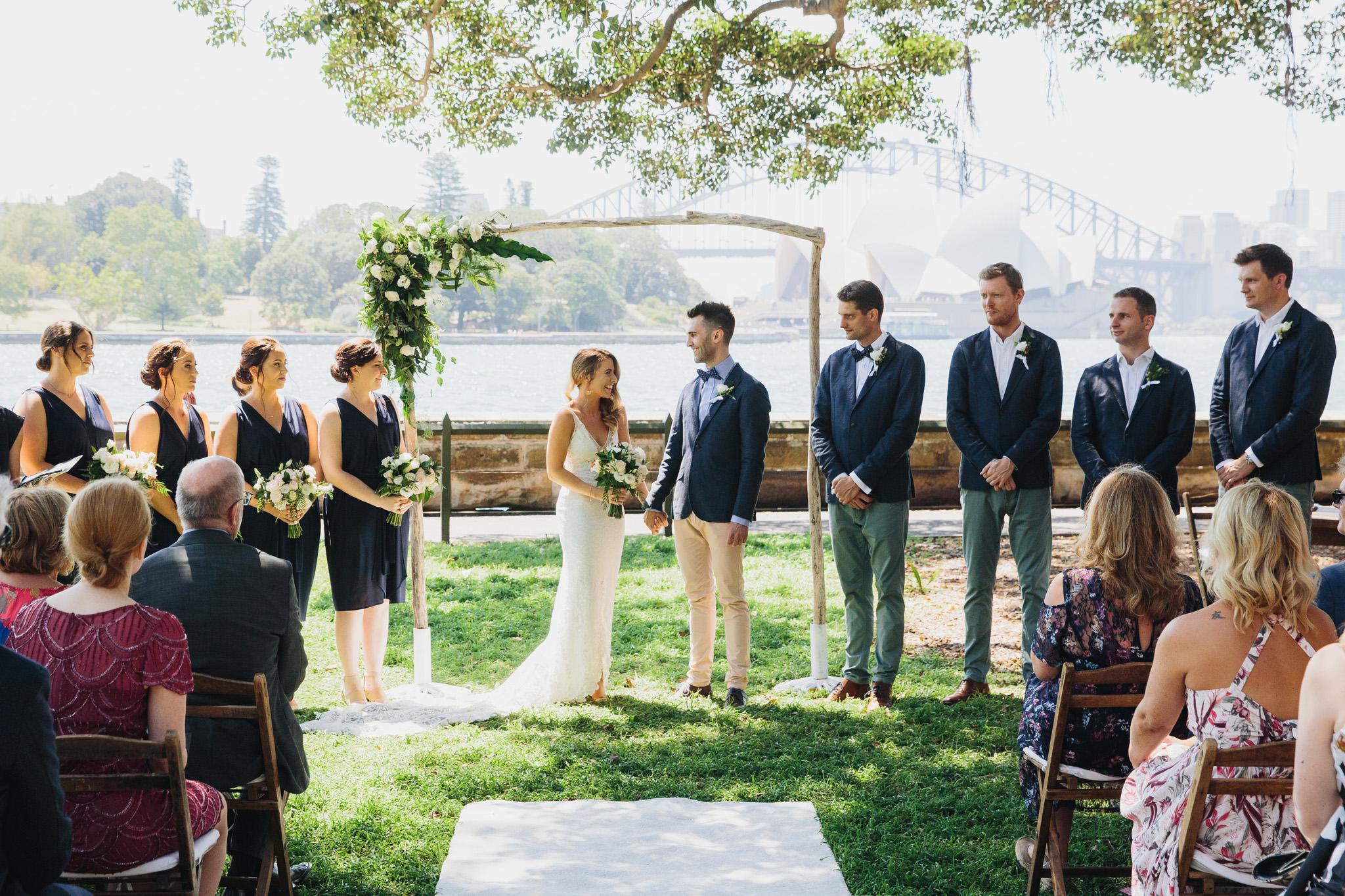 Wedding Ceremony Sydney Botanic Gardens Harbour View Lawn