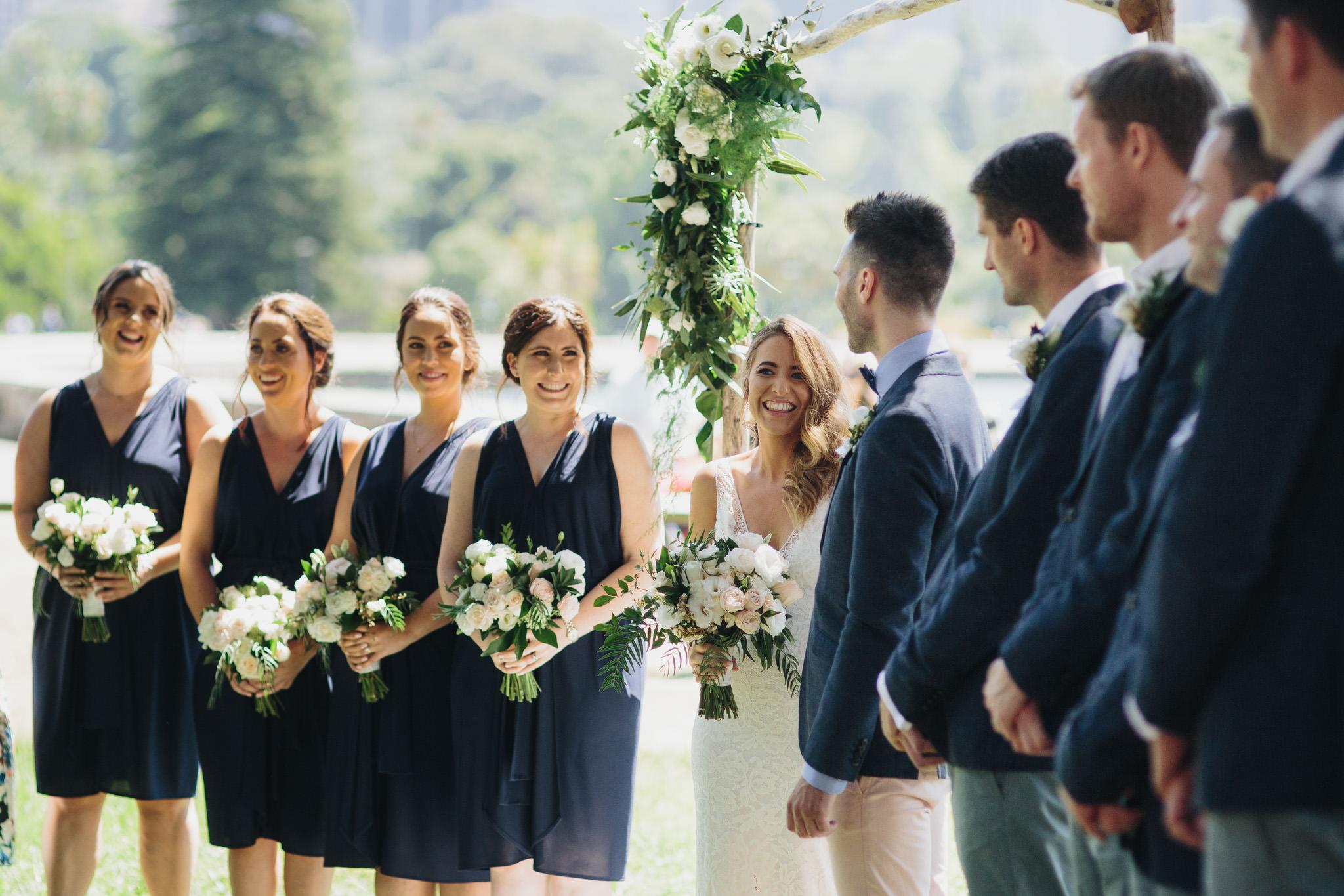 Wedding ceremony at Sydney Botanic Gardens Harbour View Lawn