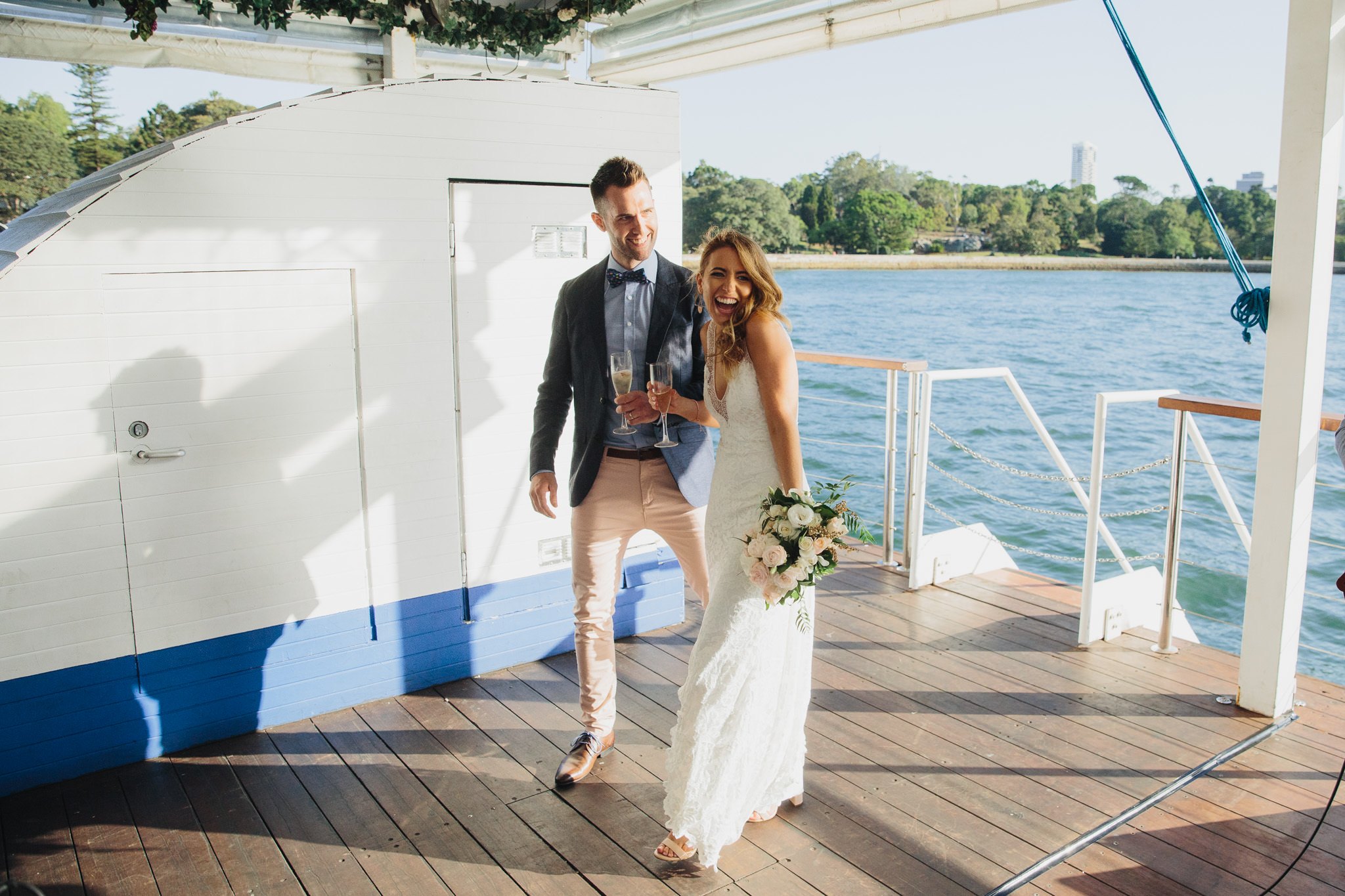 Bride and groom at their wedding on The Island Sydney Harbour