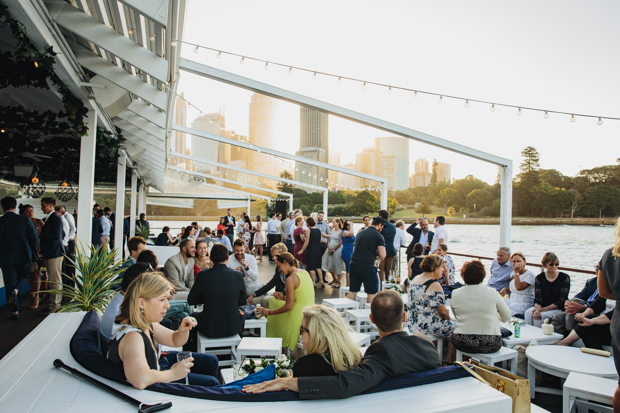 Wedding guests onboard The Island Sydney Harbour