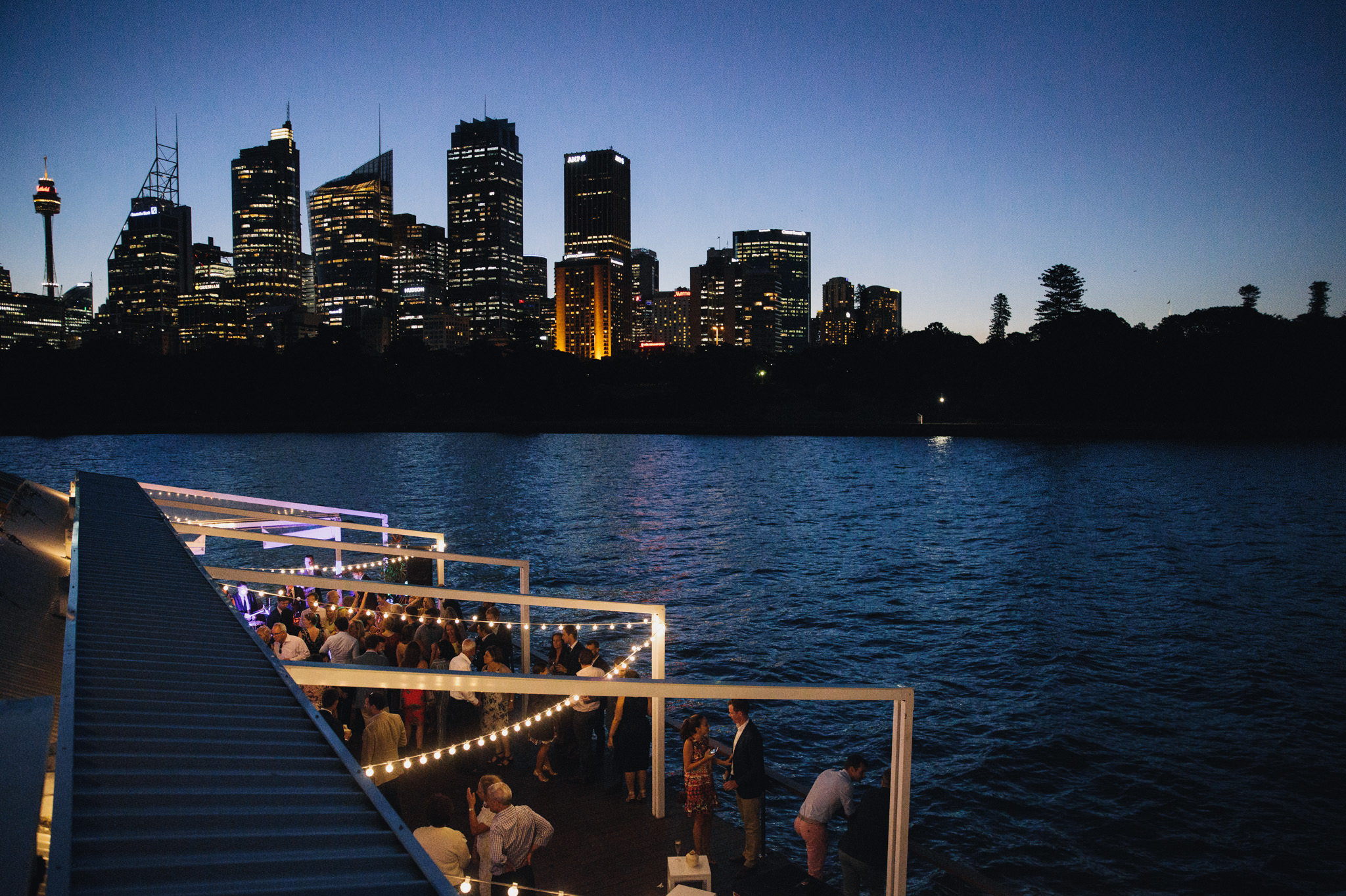 The Island Sydney Harbour at night for a wedding