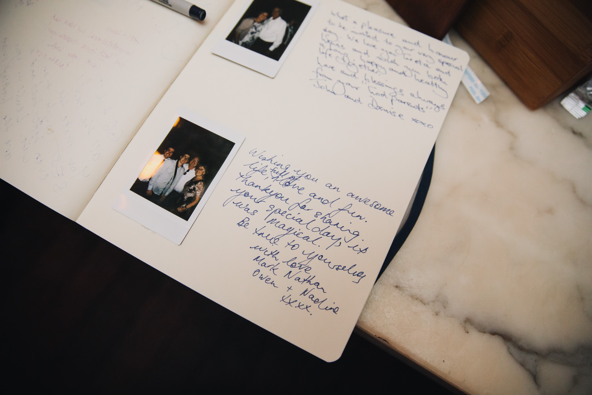 Wedding guest book with polariod images