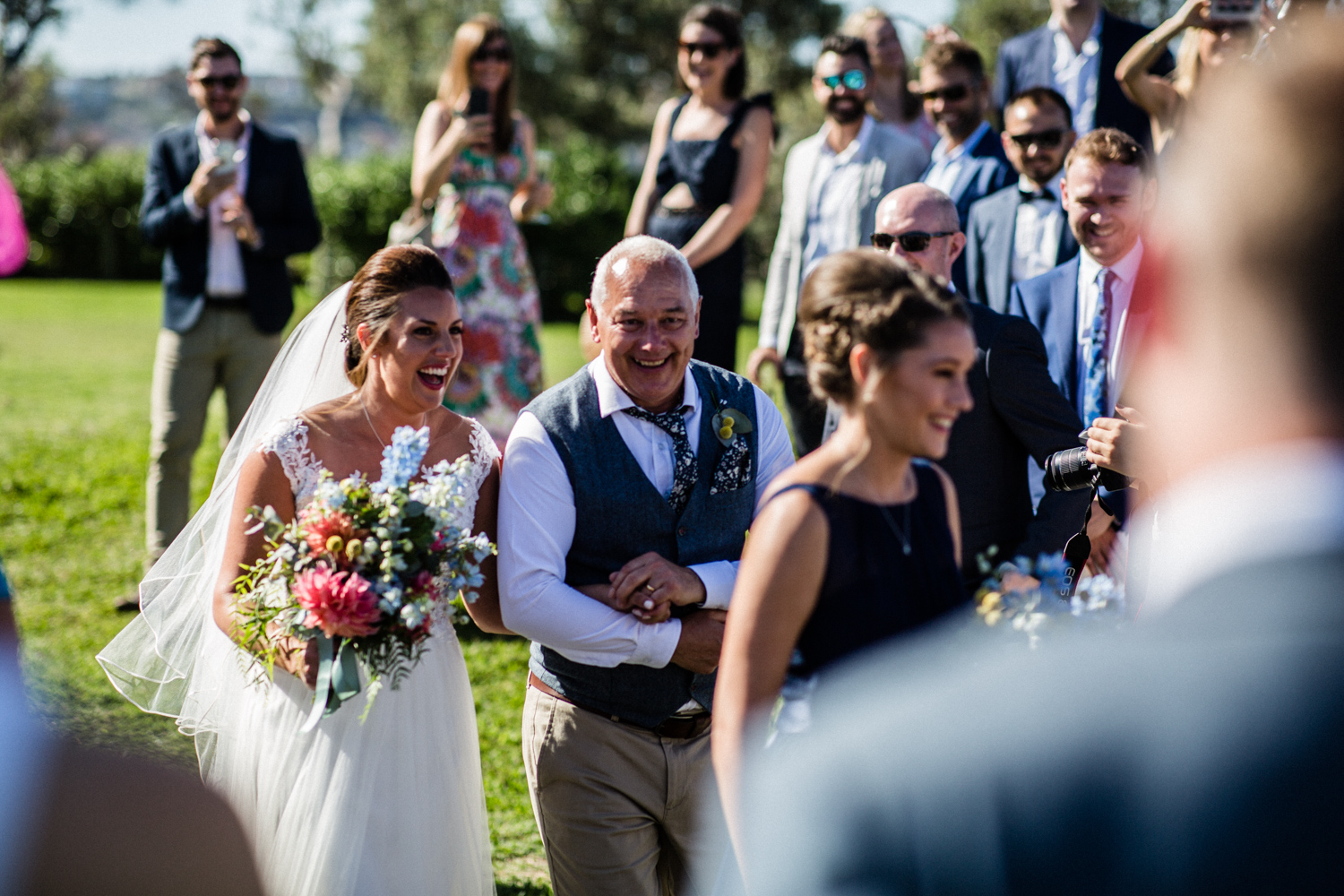 BRIDE AND HER FATHER AT MARKS PARK BONDI BEACH